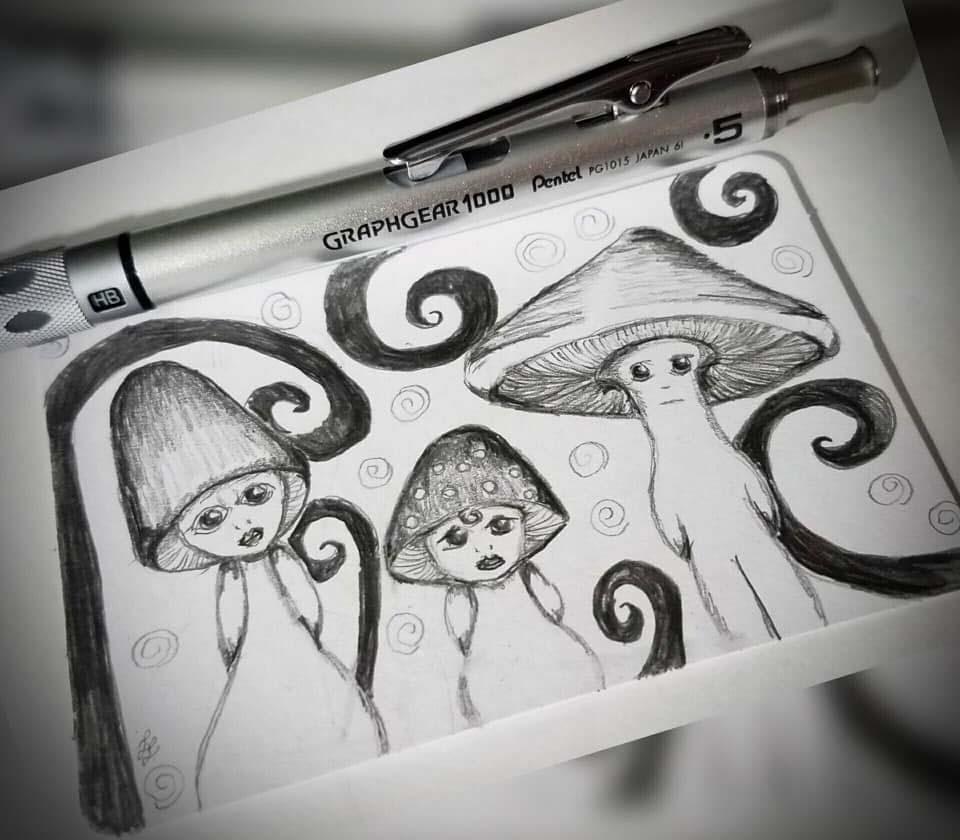 mushroom people sketch