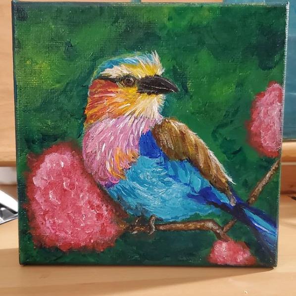 bird painting lilac
